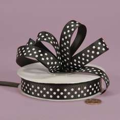 3/8 Black White Grosgrain with Pink Polka Dots : click to enlarge