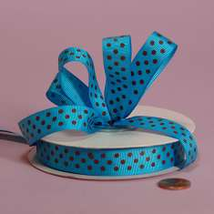 5/8 Blue & Brown Polka Dots Grosgrain: click to enlarge