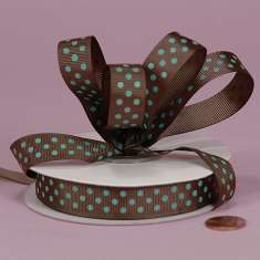 3/8 Brown Blue Polka Dot Grosgrain : click to enlarge